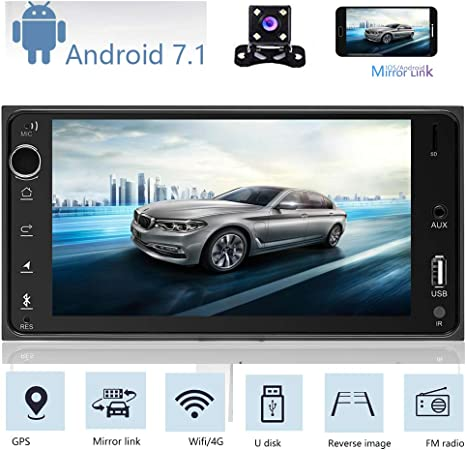 """Bluetooth Car Stereo Radio 2 DIN 7/"""" HD Touchscreen GPS MP5 FM Player Android 7.1"""