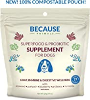 Because Animals Superfood & Probiotic Supplement for Dogs (4.4oz) - All-Natural, Human-Grade Ingredients -with Vitamins, Min