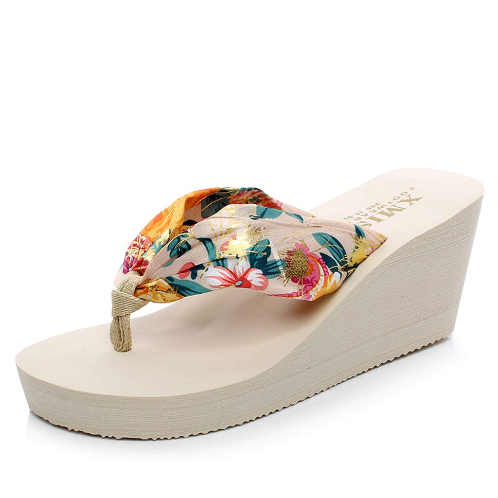 Women's Flip Flop Wedge Sandals Summer Sandal Chunky High Platform Shoes (US:7, Beige)