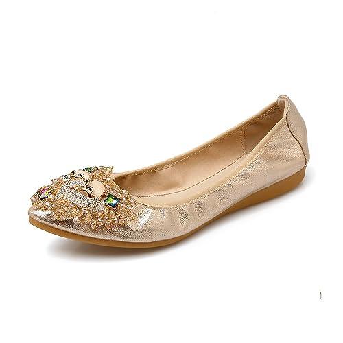 1ec11f0e0 Meeshine Women Flats Bridal Shoes Fold Up Ballet Flat Pumps Gold 7 UK:  Amazon.co.uk: Shoes & Bags