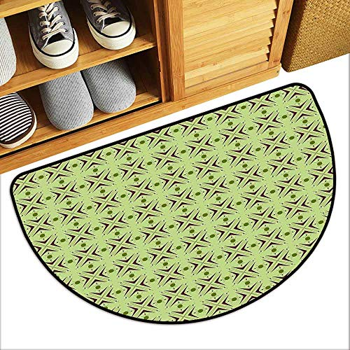 (DILITECK Modern Door mat Mid Century Atomic Form with Boomerang Details Dots and Crossed Lines Hard and wear Resistant W31 xL20 Apple Green Plum Bondi Blue)