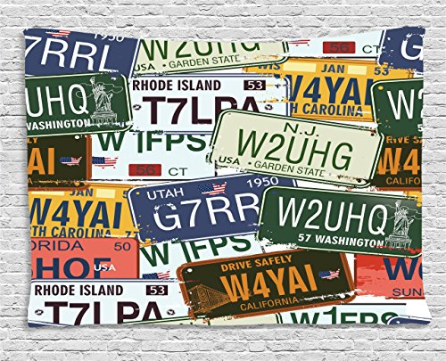 Ambesonne Vintage Tapestry, Original Retro Style License Plates Personalized Creative Travel Vacation, Wall Hanging for Bedroom Living Room Dorm, 60 W X 40 L Inches, Blue Green ()