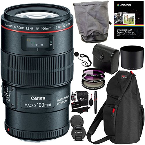 Digital Macro Ring - Canon EF 100mm f/2.8L IS USM Macro Lens for Canon Digital SLR Cameras, Polaroid 3 Piece 67mm Filter Kit (UV/CPL/FLD) and Polaroid Accessory Kit