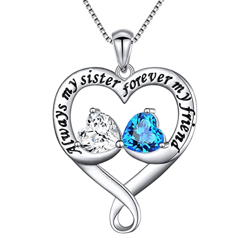 925 Sterling Silver Always My Sister Daughter Forever My Friend Double Love Heart Necklace, 18 inches chain