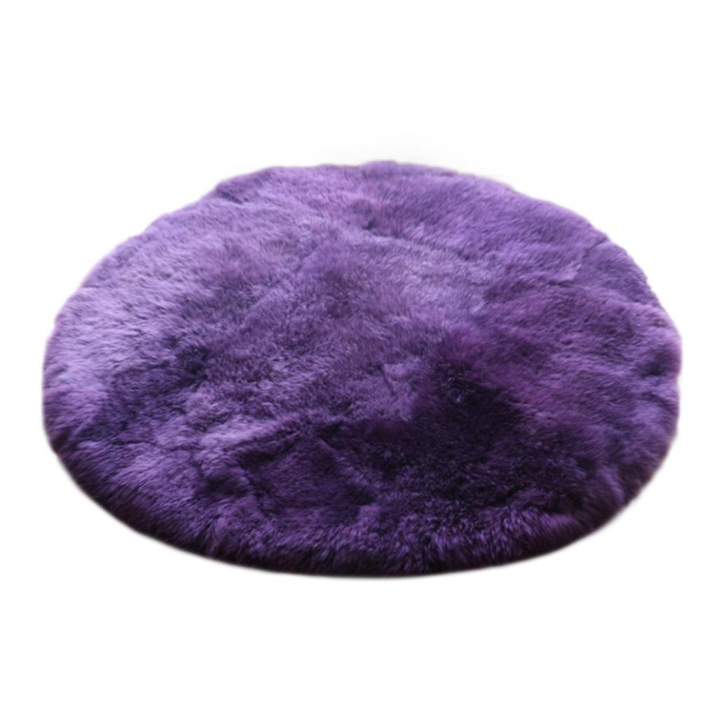 Excellent Quality Faux Sheepskin Rug Natural Area Rug Supersoft Fluffy Round Chair Cover Artificial Wool Warm Hairy Carpet Seat Pad Shaggy Rug Floor Mat Carpet Decoration (Purple, 11.8''x11.8'')