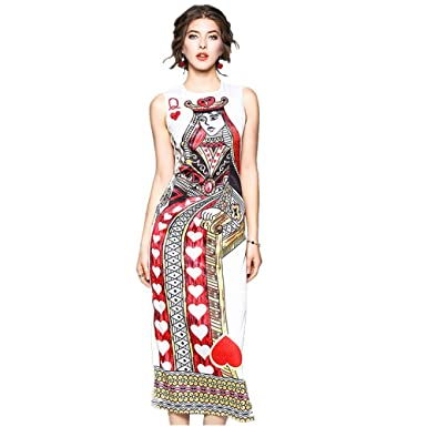 Lan Zhi Store Women Summer Poker Queen Print Round Neck Sleeveless Slim  Waist Dress (S eee02ffd6