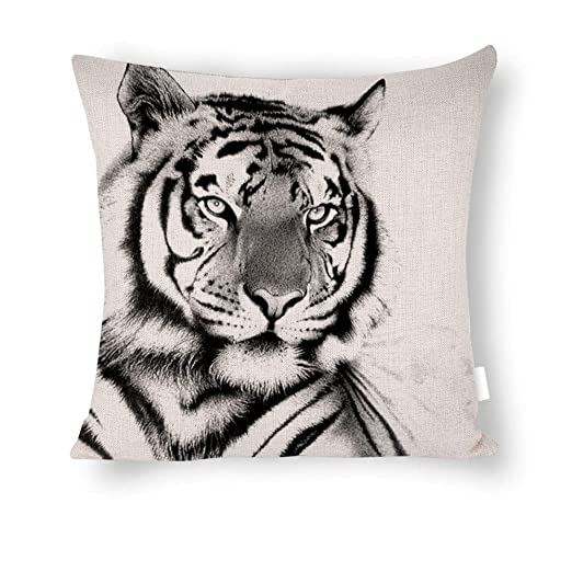 Dartys Pillow Cover Tiger Fundas de Almohada de Lino Rayas ...