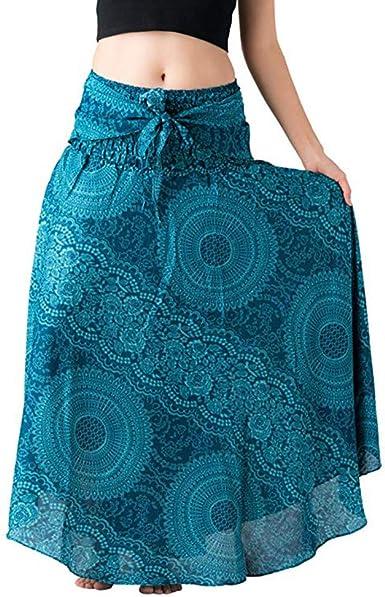 Covermason Mujer Largo Hippie Bohemio Floral Elástico Cintura ...
