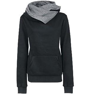 Kankanluck Women Pullover Hit Color Slim Simple Tunic Hoodie Sweatshirt