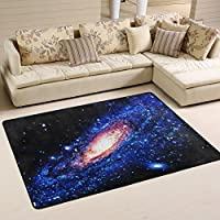 Naanle Universe Galaxy Area Rug 4x6, Spiral Galaxy Polyester Area Rug Mat for Living Dining Dorm Room Bedroom Home Decorative