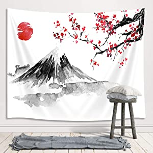Japanese Mount Fuji Decor Tapestry, Asian Cherry Blossoms Sakura Floral Spring Sunset Ink Painting Art Wall Hanging for Bedroom Living Room College Dorm TV Backdrop Wall Blankets 71X60 Inches