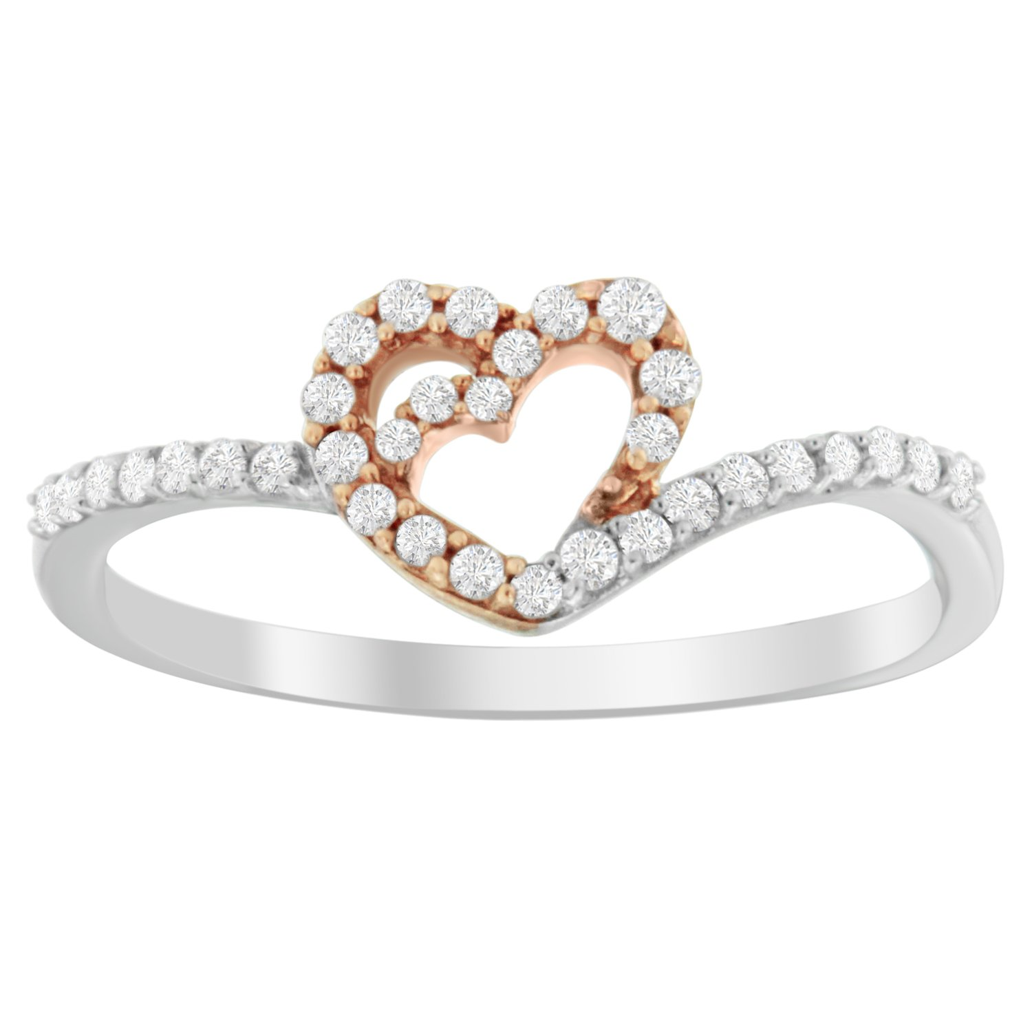 Sterling Silver Round-cut Diamond Rose Gold Plate Heart Ring (1/5 cttw, I-J Color, I2-I3 Clarity)
