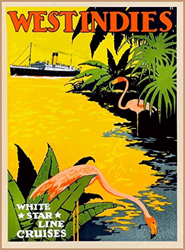 A SLICE IN TIME West Indies White Star Line Cruises Island Sea Caribbean Vintage Oceanliner Cruise Ship Travel Advertisement Art Poster Print. Measures 10 x 13.5 inches (Ship Travel Vintage Poster)