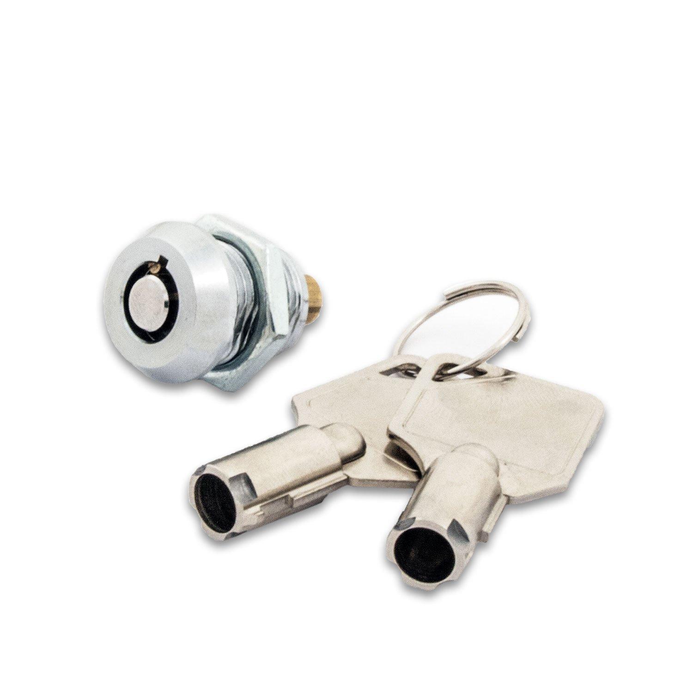 FJM Security 2615B-KA Miniature Tubular Push Locks with Chrome Finish, Keyed Alike - 20 Pack