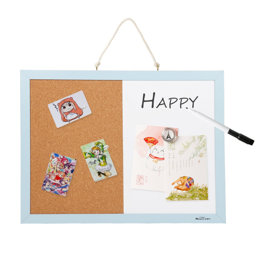 Combination Magnetic Whiteboard Bulletin Board, Dry Erase/Cork Board Small Mini Hanging Tack Message Memo Picture Board for Home Office SPESSN