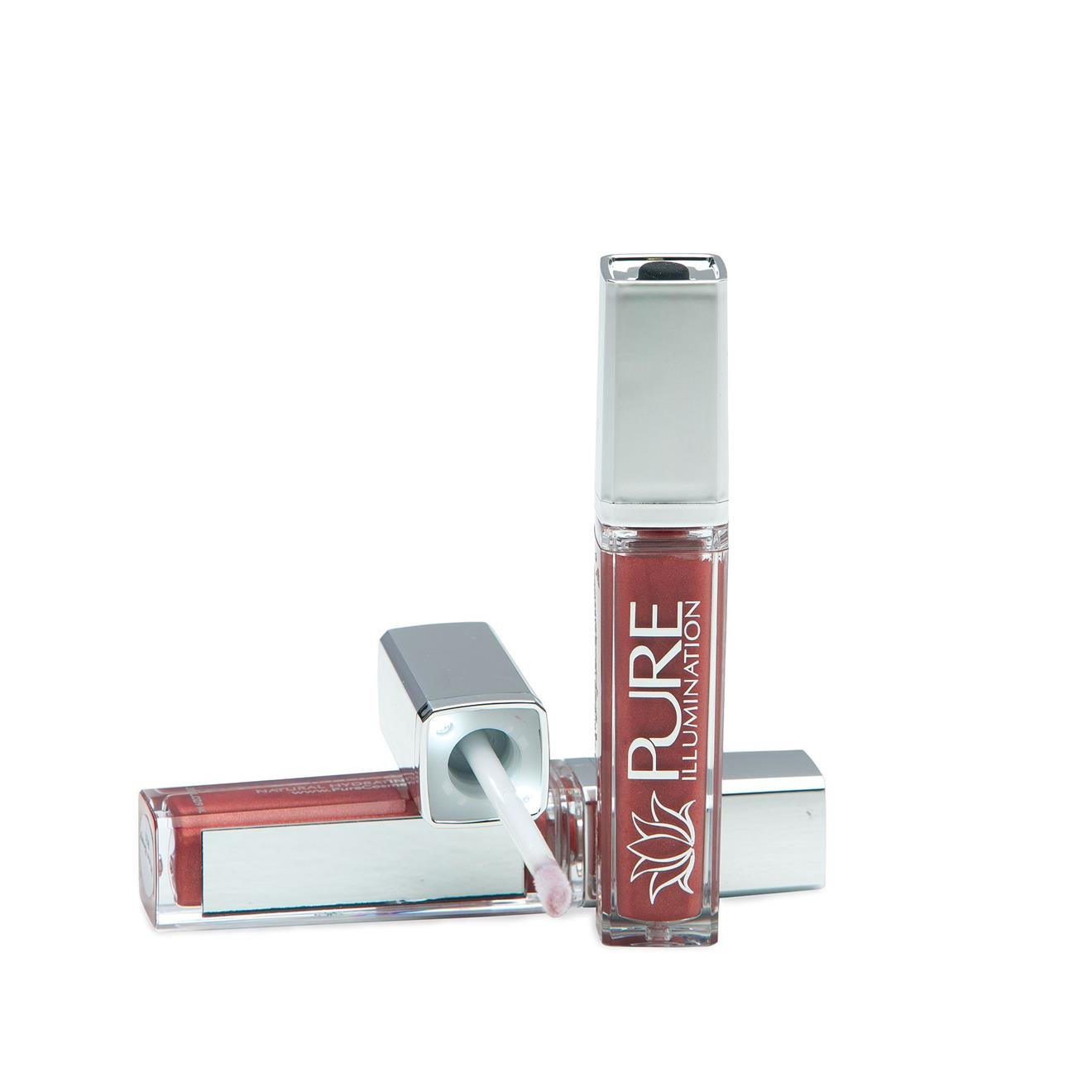 Pure Cosmetics Pure Illumination Natural Hydrating Lip Gloss Push Button  Light Up with Mirror - Wine