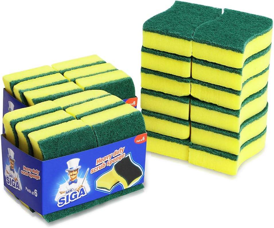 """MR. SIGA Heavy Duty Scrub Sponge, 24 Count, Size:11 x 7 x 3cm, 4.3"""" x 2.8"""" x 1.2"""": Home & Kitchen"""