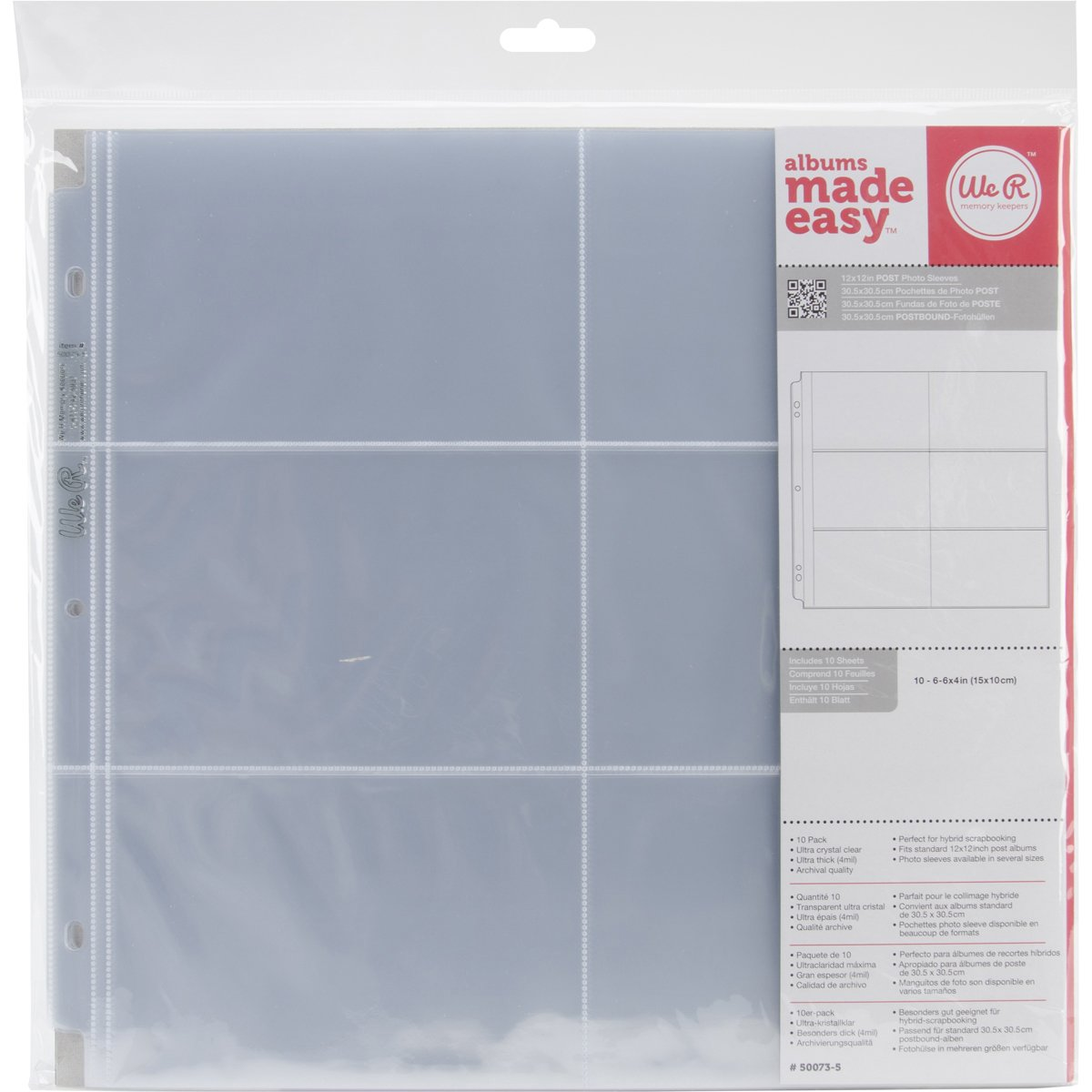 We R Memory Keepers We R Postbound Photo Sleeves 12x12 10/Pkg-Six 4x6 Pockets 660153
