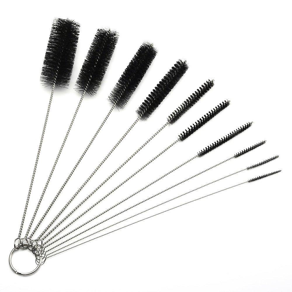 Easyinsmile 8.2 Inch Nylon Tube Brush Set Tattoo Brush Cleaning Brush Tattoo Cleaning Brushes (10 Pieces)