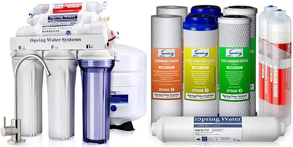 iSpring 6-Stage Superb Taste High Capacity Under Sink Reverse Osmosis Drinking Water Filter System & 1-Year Replacement Supply Filter Cartridge Pack Set for 6-Stage Alkaline Mineral Reverse Systems
