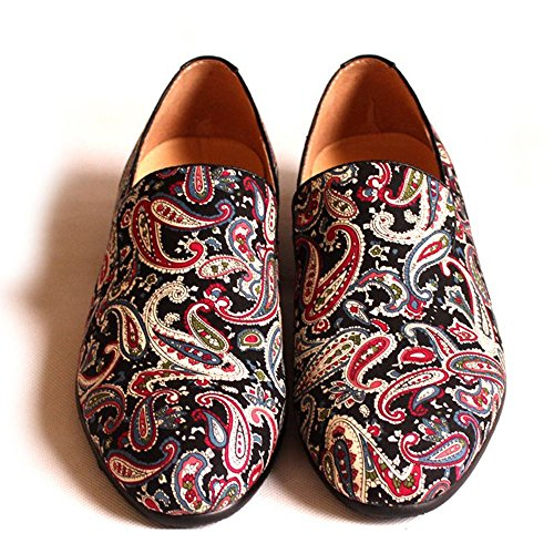 Fulinken Mens Moda Velluto Slip-on Scarpe Pantofole Punta Rotonda Mens Casual Mocassini Ricamati Nero / Blu / Rosso Nero Paisley