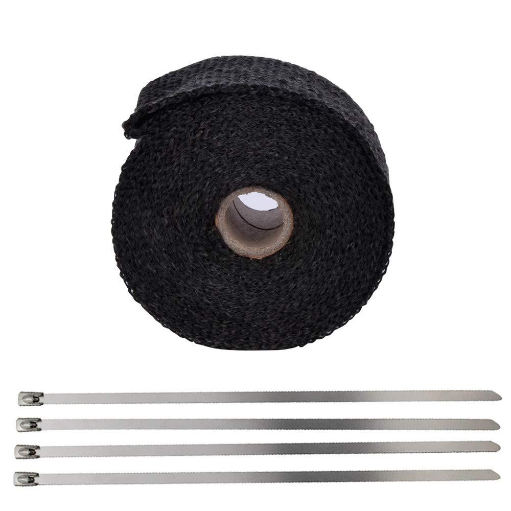 Racksoy –  5 m Cinta aislante ruedas de escape Tubo de distribució n de caso negro (1, 5 mm Grosor) & 4 Visite presilla para Auto Moto/Horno y má quinas Paí s etc.