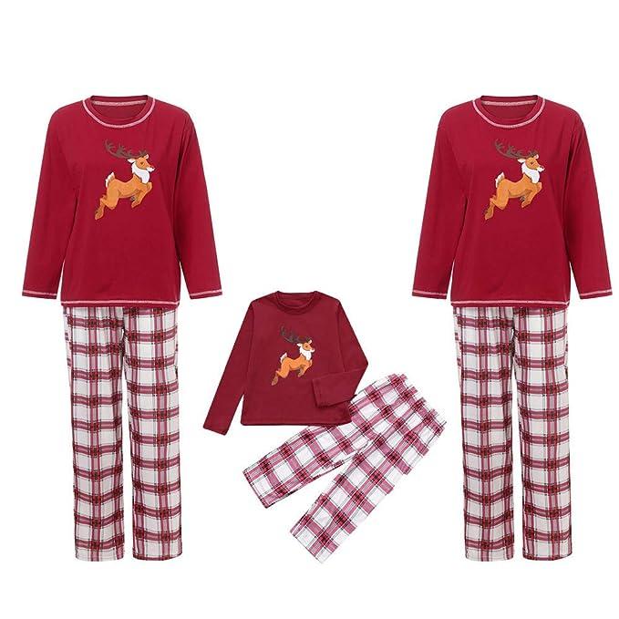 9a258f3562c1 Mambain Pigiama Natale, Pigiami Tute Due Pezzi Pantaloni + Maglietta Renna Stampe  Bambino Donna Uomo