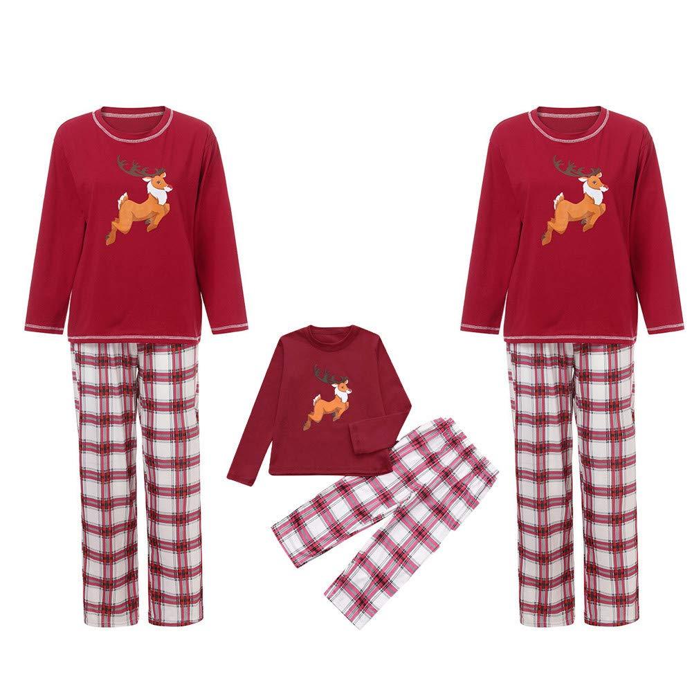 YunZyun 2 Piece Women Men Kids Toddler Christmas Stripe Plaid Pajama Sets Jammies Matching Family Winter Long Sleeve Cartoon Fashion Novetly Warm Cotton Pjs Sleepwear for Mon Dad Baby Boys Girls