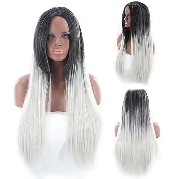 Färben Perücke Frau Glattes Haar Schwarz Perücke Farbverlauf Graue