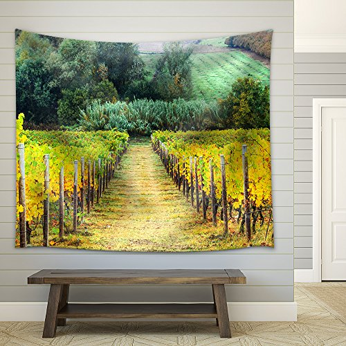Beautiful Autumn Landscape with Vineyards Tuscany Italy Fabric Wall