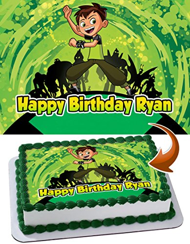 Ben 10 Edible Image Cake Topper Personalized Icing Sugar Paper A4 Sheet Edible Frosting Photo Cake 1/4 ~ Best Quality Edible Image for cake ()