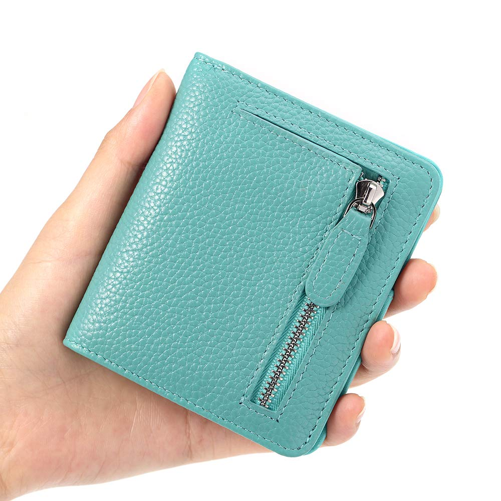 FUNTOR Leather Wallet for women, Ladies Small Compact Bifold Pocket RFID Blocking Wallet for Women, Blue by FT FUNTOR (Image #4)