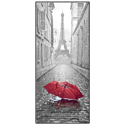 3d Sticker Porte Lqztm Parapluie Tour Eiffel Trompe Loeil Pvc