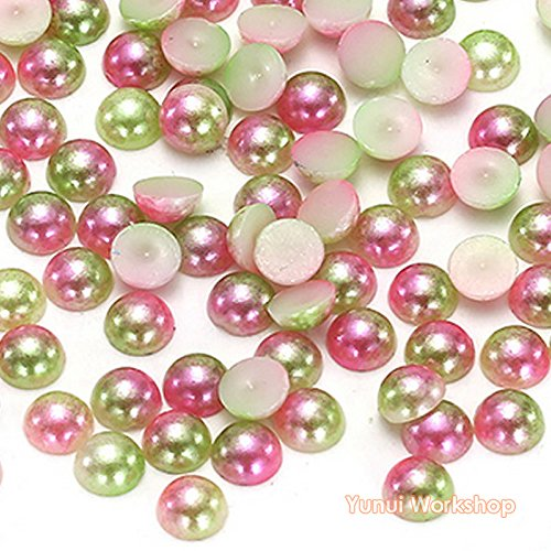Gradient Olive ((Ombre Olive Green, Mixed 3/4/5/6mm, 2000pcs) Gradient Mermaid Half Round Flat Back Pearl ABS Resin Cabochons Deco Scrapbooking Nail Art Craft)