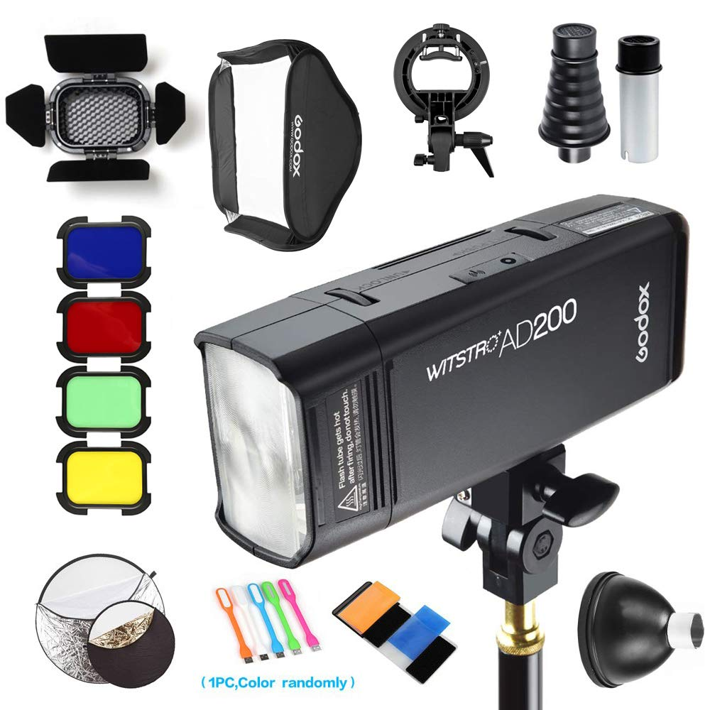 Godox AD200 200Ws 2.4G TTL Pocket Flash Speedlite Strobe 1/8000 HSS Monolight with 2900mAh Lithium Battery &24''x24'' softbox & S-Type holder & 32'' 5-in-1 Reflector & BD-07 Barn Door kit & AD-S2 & AD-S9 by Godox