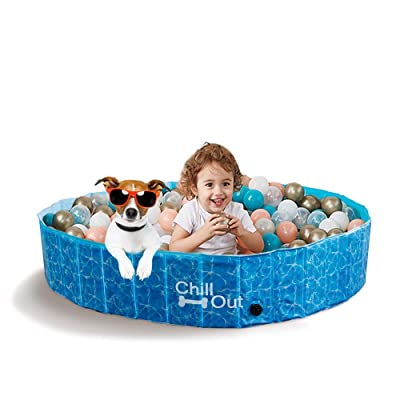 ALL FOR PAWS Outdoor Foldable Bathing Dog Pool Portable Pet Bath Tub Blue No Need Pump Up