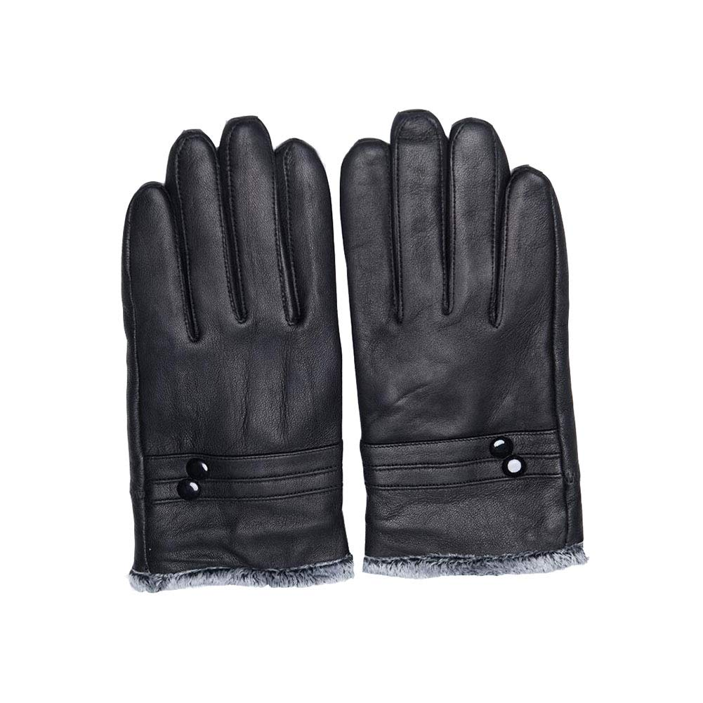 Dall Gloves Gloves Men Winter Leather Gloves Classic Fashion Business Warm Soft (Color : Black)