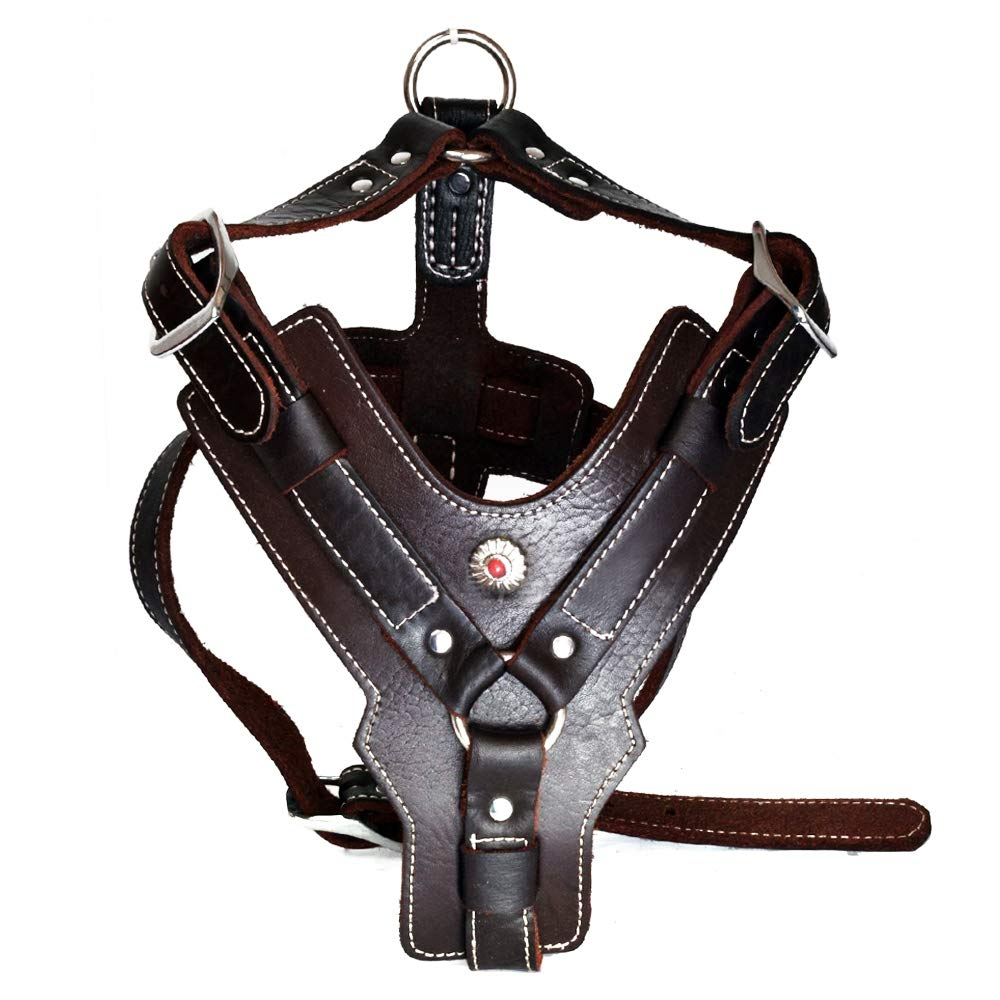 Peshouco Leather Dog Harness Handmade Genuine Leather Durable Strong Pet Harness with Adjustable Straps No Pull Easy Control Pet Vest 28'' - 32'' Chest for Medium Large Dogs Dark-Brown