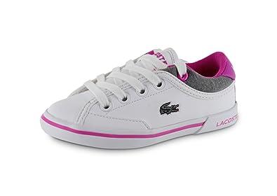 8784acd1138 Lacoste Baskets Angha pour bébé Fille en Blanc et Rose Blanc et Rose Fille