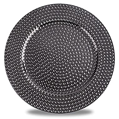 Fantastic:) Hammer with Metal Finishing 13 x13  Sepcial Design Round Charger Plates (Set of 6, Hammer Gungrey)