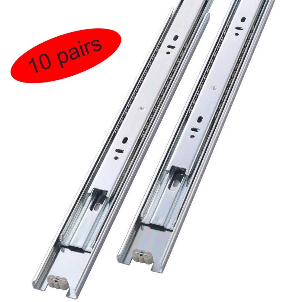 Mondaufie 10 Pair of 18 Inch Hardware Full Extension Drawer Slides,Side Mount Ball Bearing Sliding Available in 14'', 16'', 18'',20'' Lengths