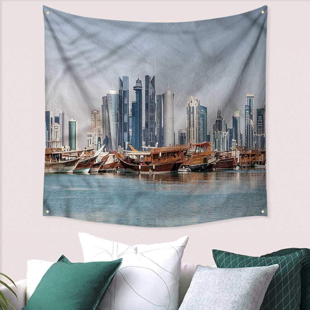 Amazon com luckyee modern dormitory decorated sand tapestry qatar city dhow ships 39w x 39l inchhome decorations for living room bedroom home kitchen