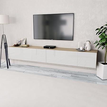 UnfadeMemory 2 x Muebles para TV,Mesas para TV,Mesas Baja para Salón Dormitorio,Estilo Moderno,Decoración de Dormitorio o Salón,120x40x34cm (Blanco y Roble): Amazon.es: Hogar