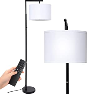 Deeak Floor lamp,Stepless Brightness &4 Color Temperature Modern Standing Shade Led Floor Lamp with Remote & Touch Control for Living Room,Office and Bedroom(9W LED Bulb Inclued)(Black)
