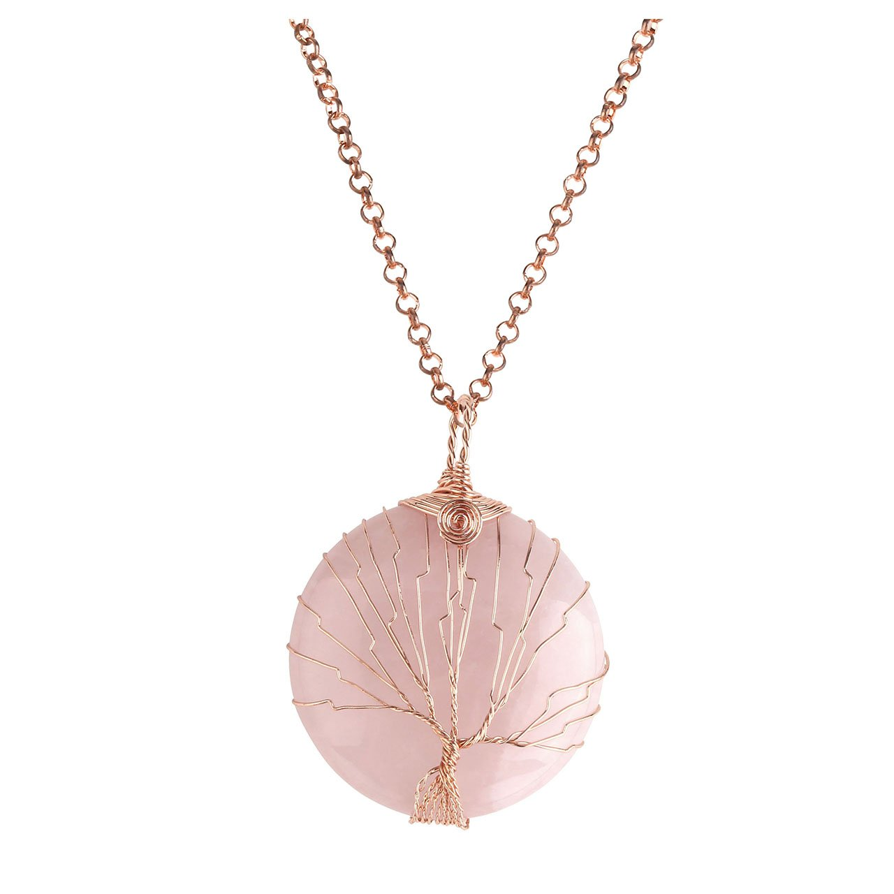 Top Plaza Vintage Copper Wire Wrapped Tree of Life Natural Gemstone Round Pendant Necklace Healing Crystal Chakra Jewelry for Women - Rose Quartz