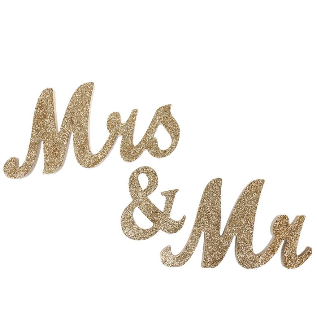 Gazechimp Glitter Mr & Mrs Holzbuchstaben Hochzeit Zeichen Holz ...