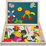 Puzzles en Bois Magnétique Jouets Educatif avec Tableau Noir Double Face pour Bambin Enfants Garcon Filles 3 4 5 Ans