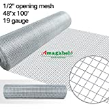 48 x100 1/2 inch Openings Square Mesh Welded Wire 19 Gauge Hot-dipped Galvanized Hardware Cloth Gutter Guards Plant Supports Chicken Run Rabbit Fence Cage Wire Window Poultry Enclosure Doors