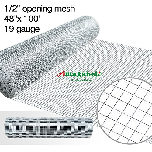 48 x100 1/2 inch Openings Square Mesh Welded Wire 19 Gauge Hot-dipped Galvanized Hardware Cloth Gutter Guards Plant Supports Chicken Run Rabbit Fence Cage Wire Window Poultry Enclosure Doors by Amagabeli