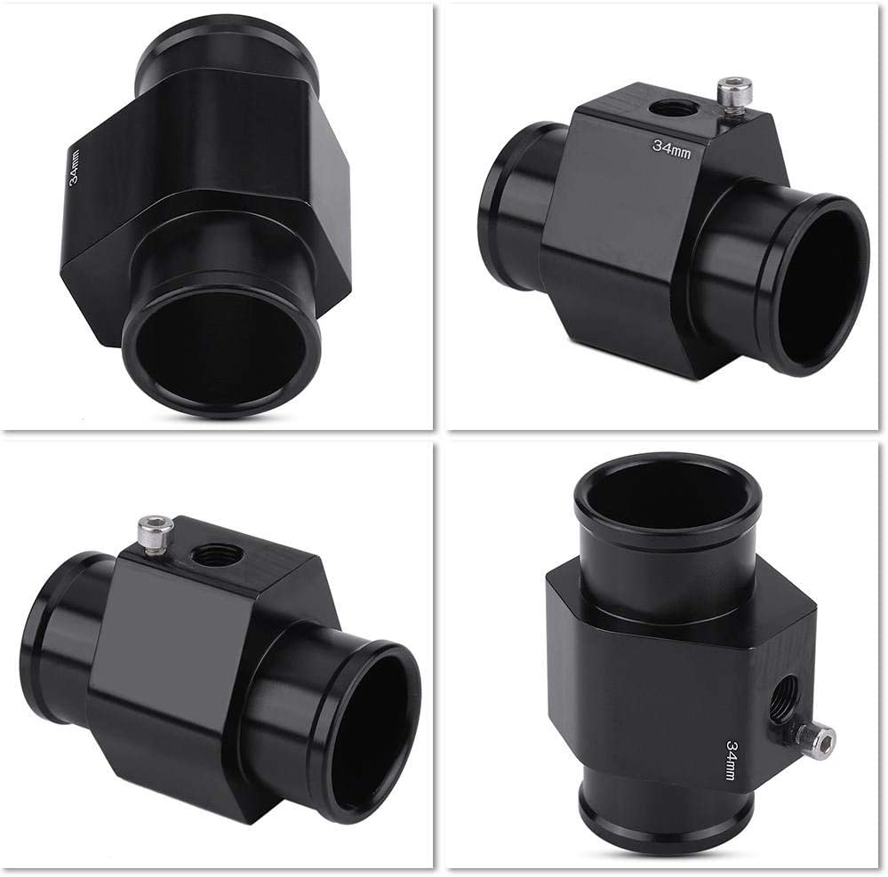 Water Temp Joint Pipe,Aluminum Water Temp Meter Temperature Joint Pipe Radiator Hose Sensor Gauge Adaptor with Clamps Black 38mm 30mm